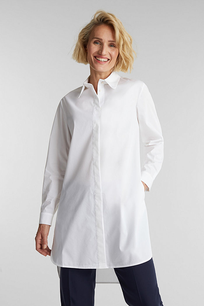 Shirt blouse in a long cut, WHITE, detail image number 0