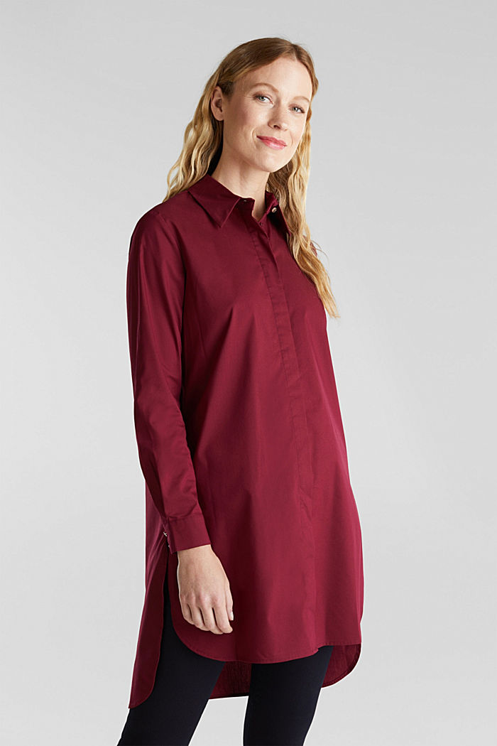 Shirt blouse in a long cut, BORDEAUX RED, detail image number 0