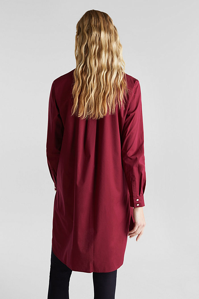 Shirt blouse in a long cut, BORDEAUX RED, detail image number 3