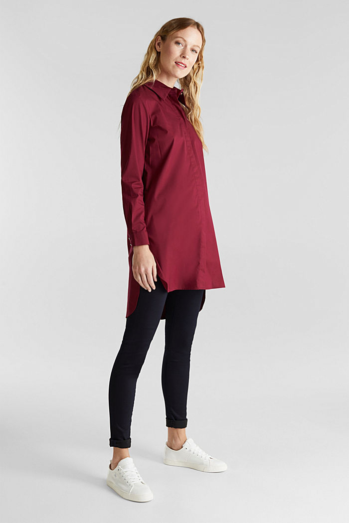 Shirt blouse in a long cut, BORDEAUX RED, detail image number 1