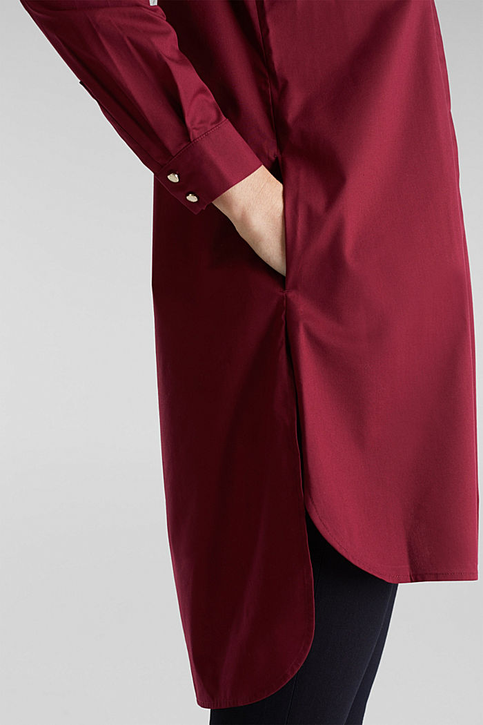 Shirt blouse in a long cut, BORDEAUX RED, detail image number 2