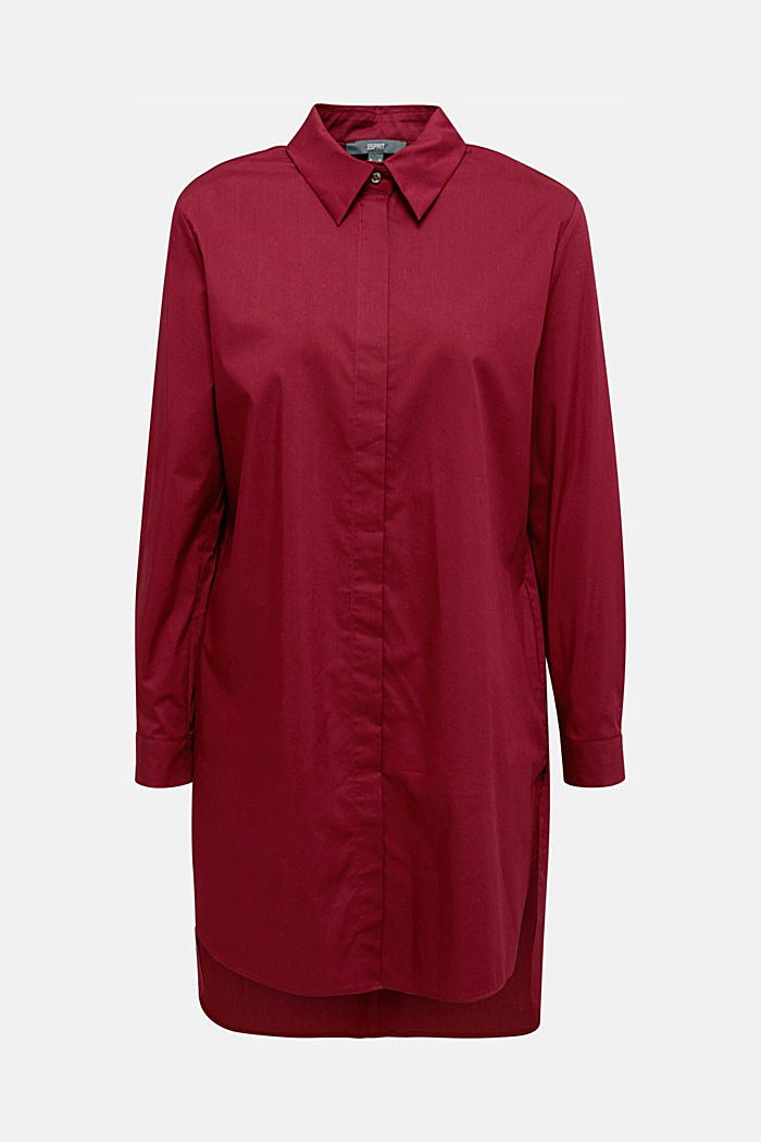 Shirt blouse in a long cut, BORDEAUX RED, detail image number 6
