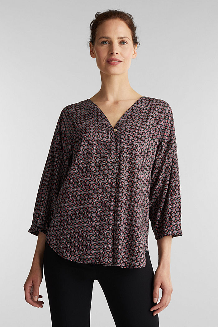 Print blouse with LENZING™ ECOVERO™, BLACK, detail image number 0