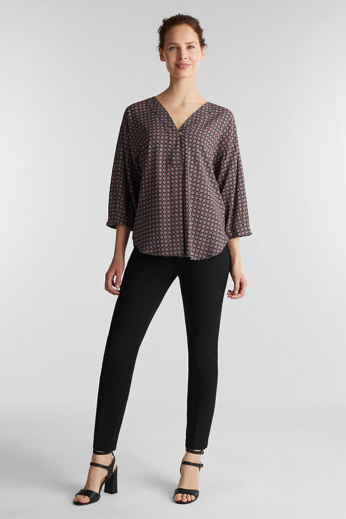 Print blouse with LENZING™ ECOVERO™, BLACK, detail image number 1