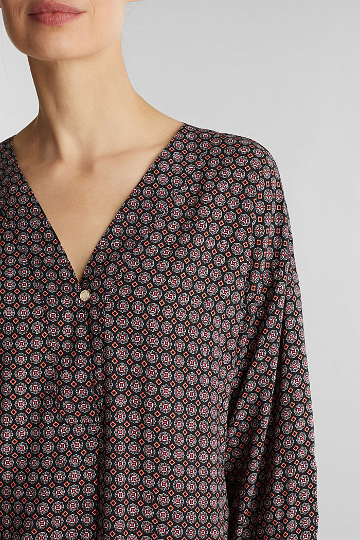 Print blouse with LENZING™ ECOVERO™, BLACK, detail image number 2