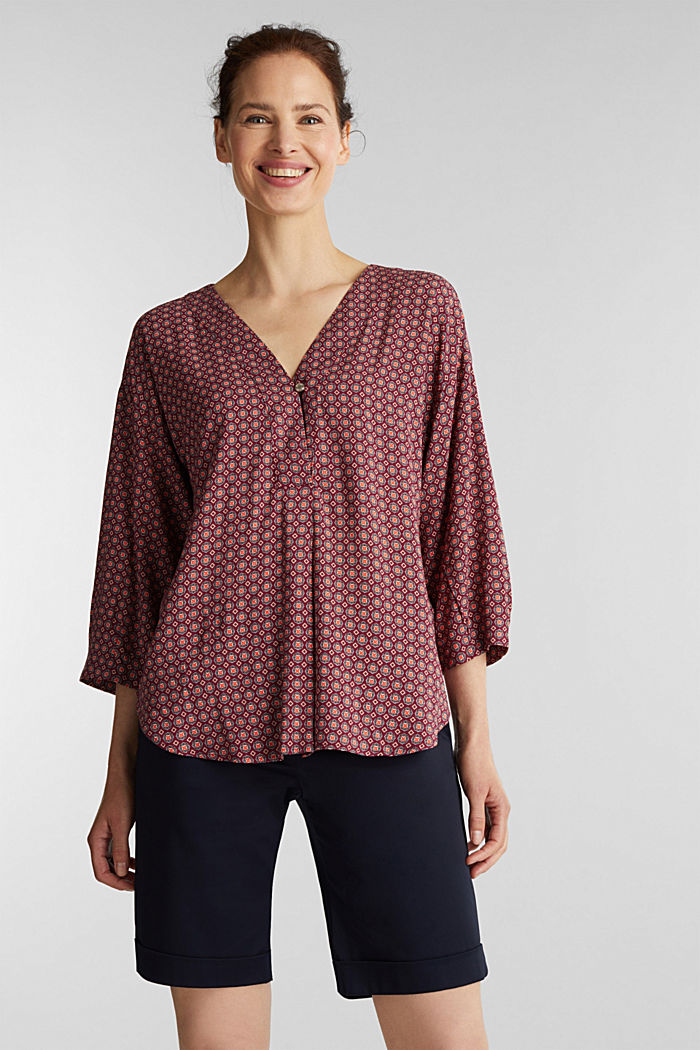Print blouse with LENZING™ ECOVERO™, BORDEAUX RED, detail image number 0