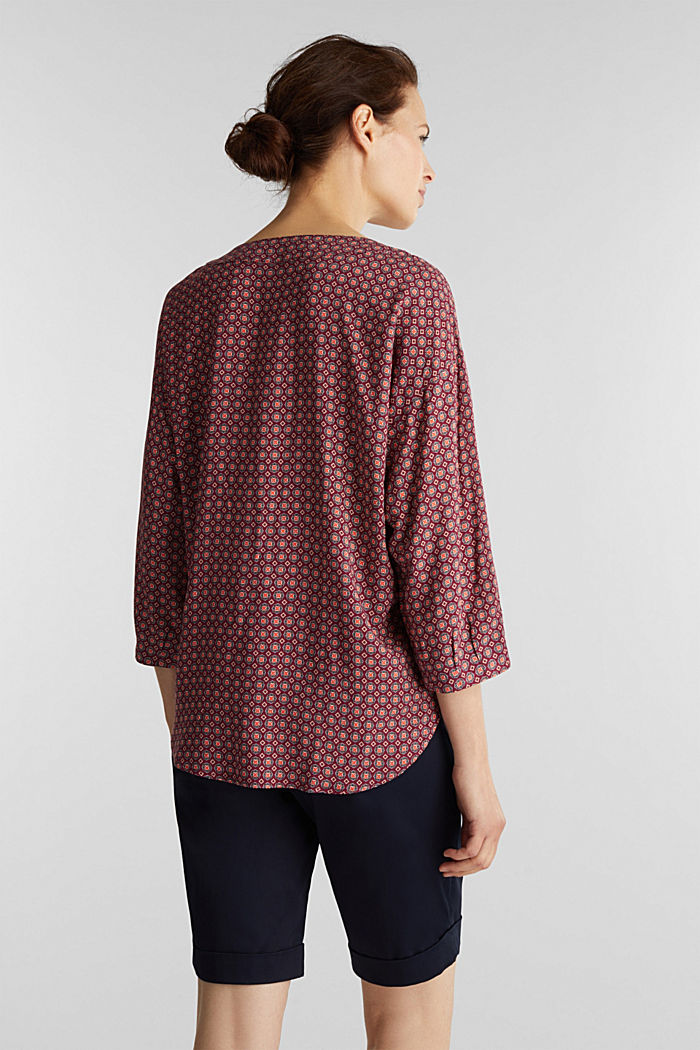 Print blouse with LENZING™ ECOVERO™, BORDEAUX RED, detail image number 3