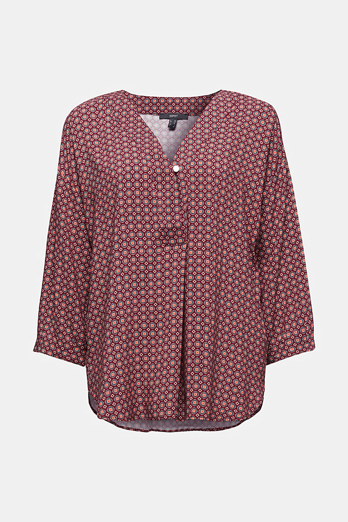 Print blouse with LENZING™ ECOVERO™, BORDEAUX RED, detail image number 5