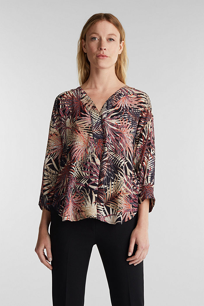 Slip-on blouse with a tropical print, BLACK, detail image number 0