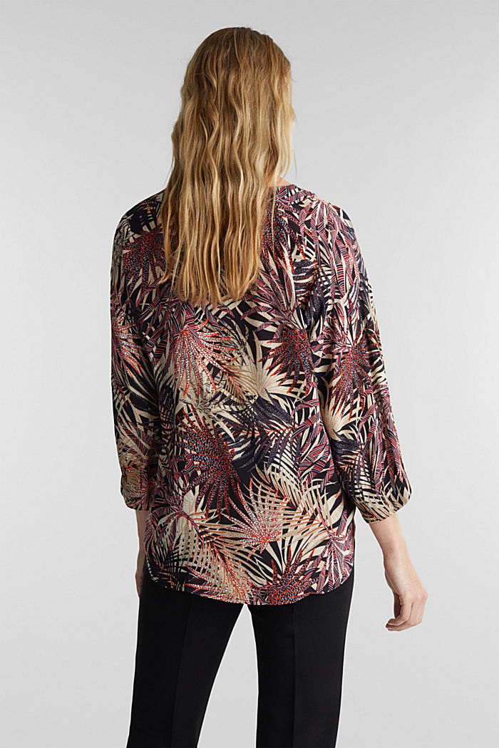 Slip-on blouse with a tropical print, BLACK, detail image number 3