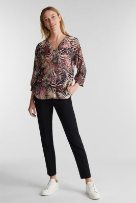 Slip-on blouse with a tropical print, BLACK 3, detail