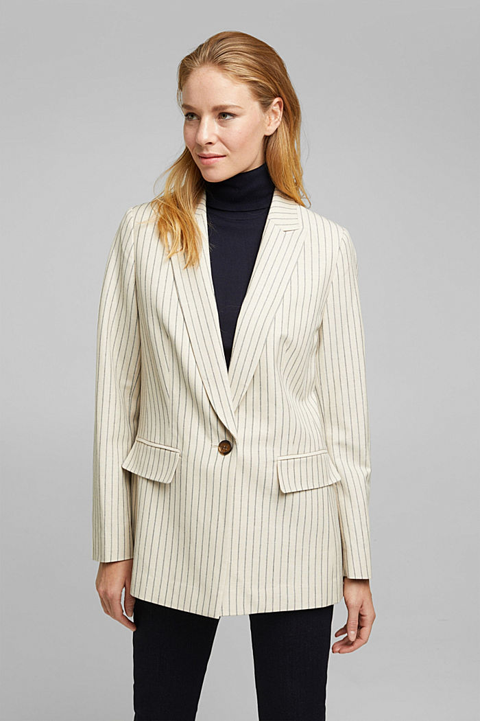With linen: striped single-button blazer, LIGHT BEIGE, detail image number 0