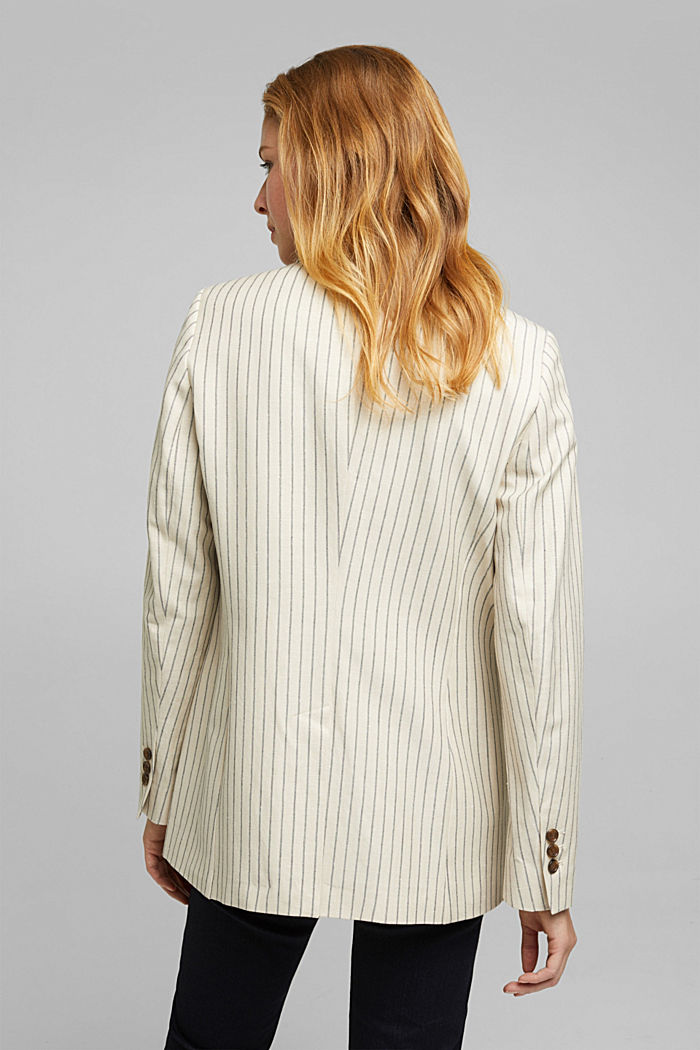 With linen: striped single-button blazer, LIGHT BEIGE, detail image number 3