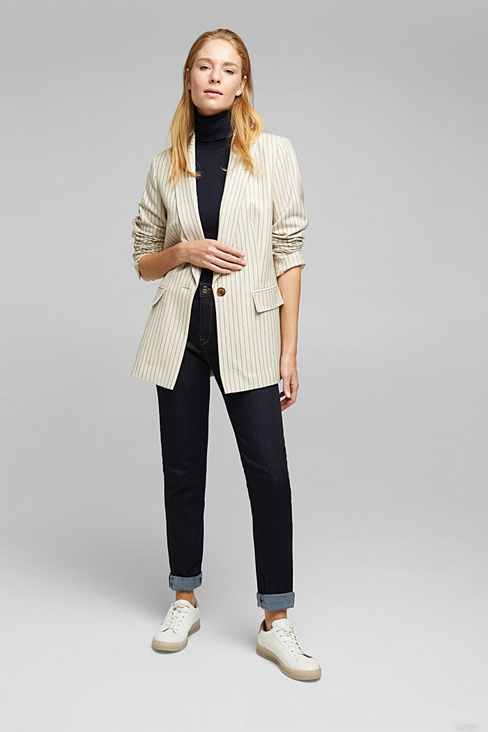 With linen: striped single-button blazer, LIGHT BEIGE, detail image number 1