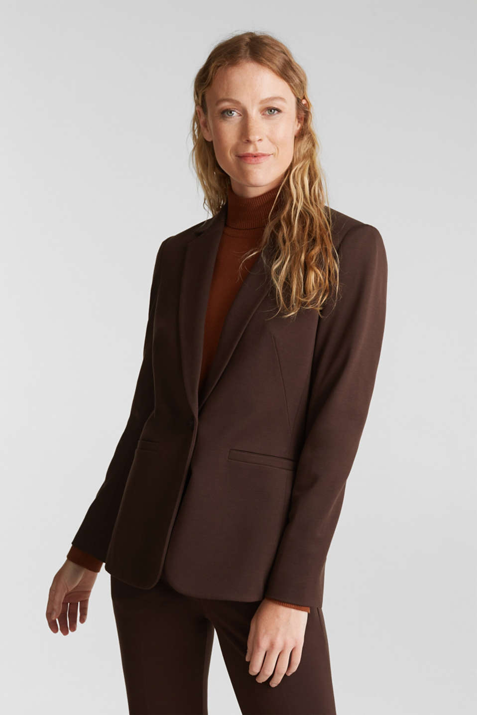 Esprit - Jersey blazer with stretch for comfort