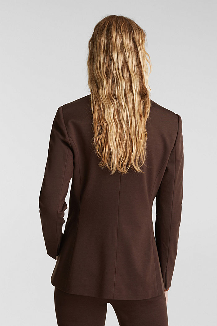 Jersey blazer with stretch for comfort, DARK BROWN, detail image number 3