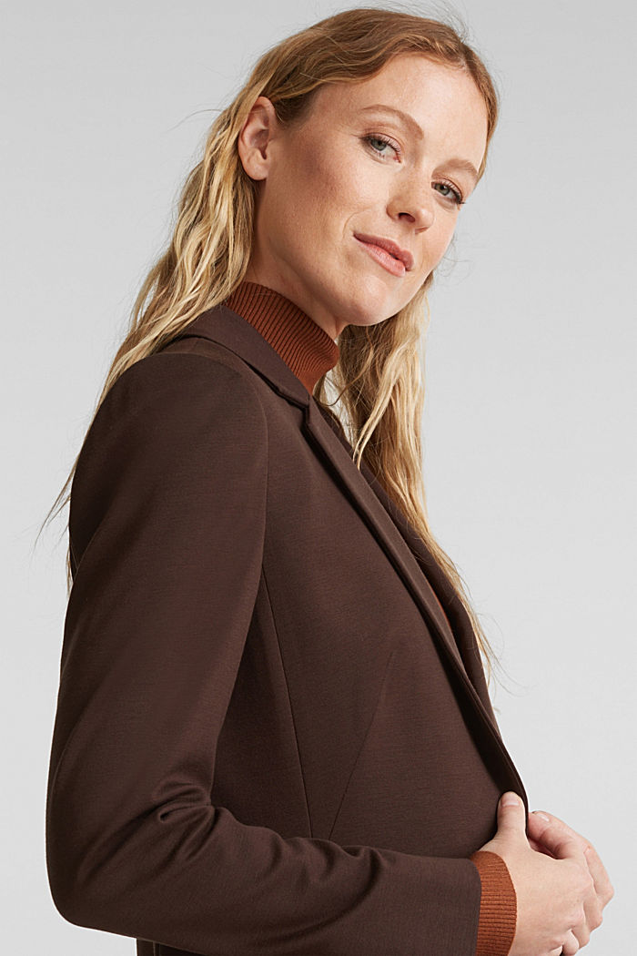 Jersey blazer with stretch for comfort, DARK BROWN, detail image number 5