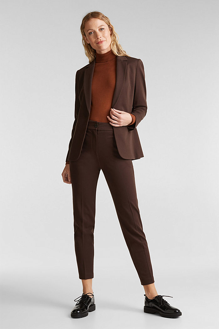 Jersey blazer with stretch for comfort, DARK BROWN, detail image number 1