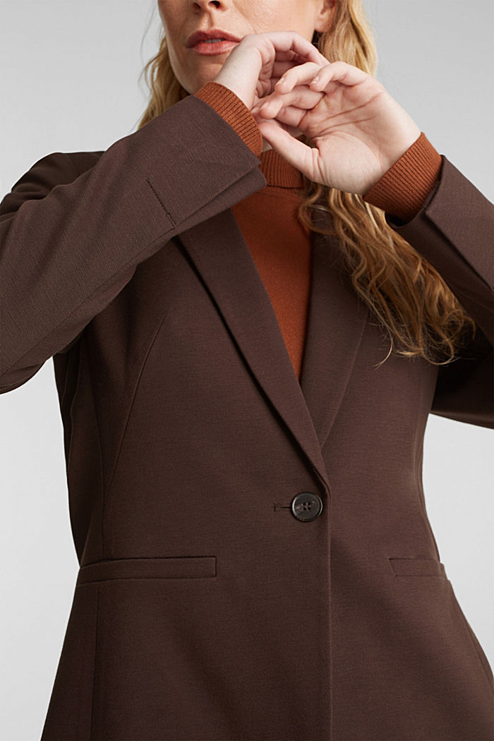 Jersey blazer with stretch for comfort, DARK BROWN, detail image number 2