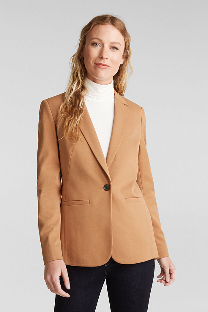 Jersey blazer with stretch for comfort, CAMEL, detail image number 0