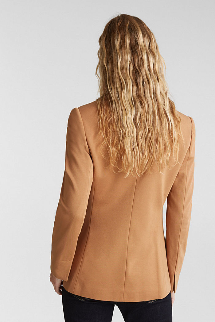 Jersey blazer with stretch for comfort, CAMEL, detail image number 3