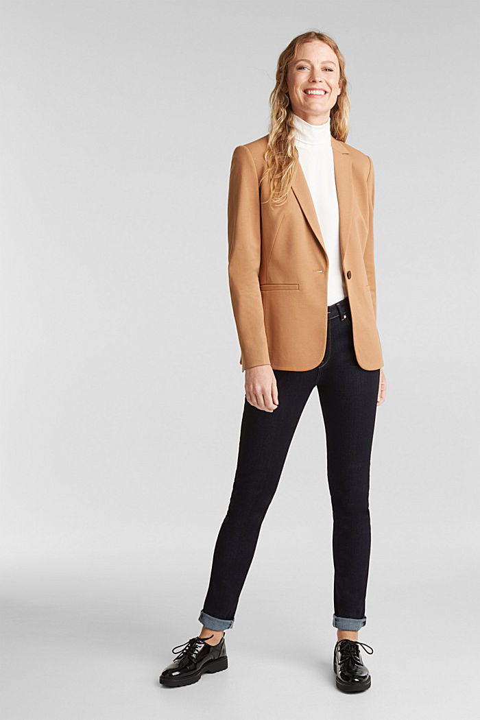 Jersey blazer with stretch for comfort, CAMEL, detail image number 1