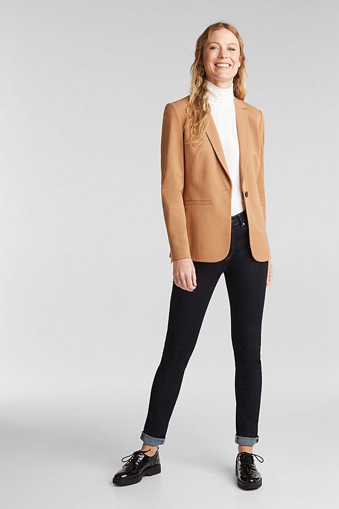 Jersey-Blazer mit Stretchkomfort, CAMEL, detail image number 1