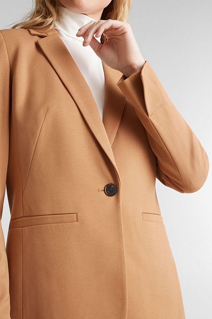 Jersey blazer with stretch for comfort, CAMEL, detail image number 2