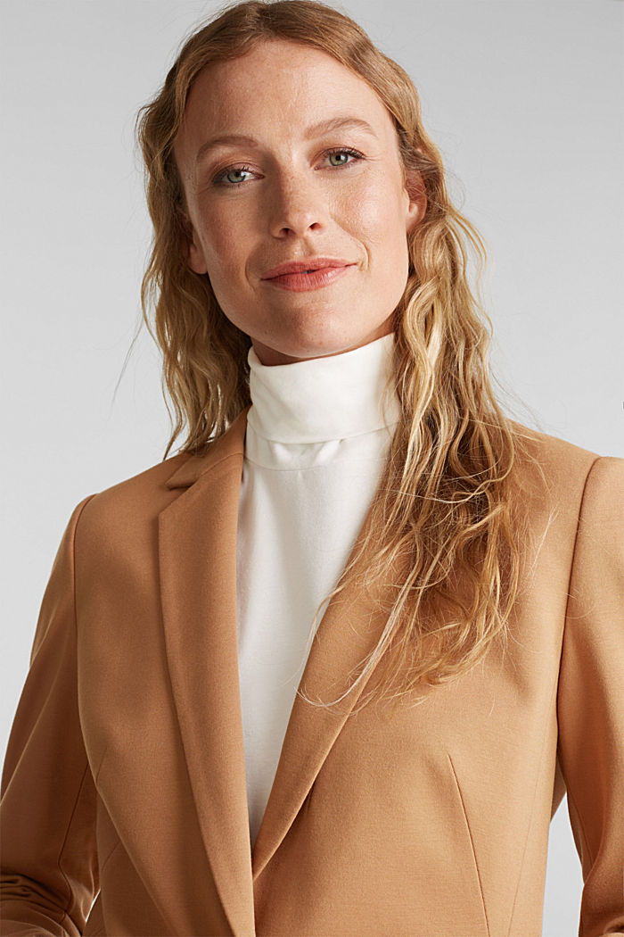 Jersey blazer with stretch for comfort, CAMEL, detail image number 5