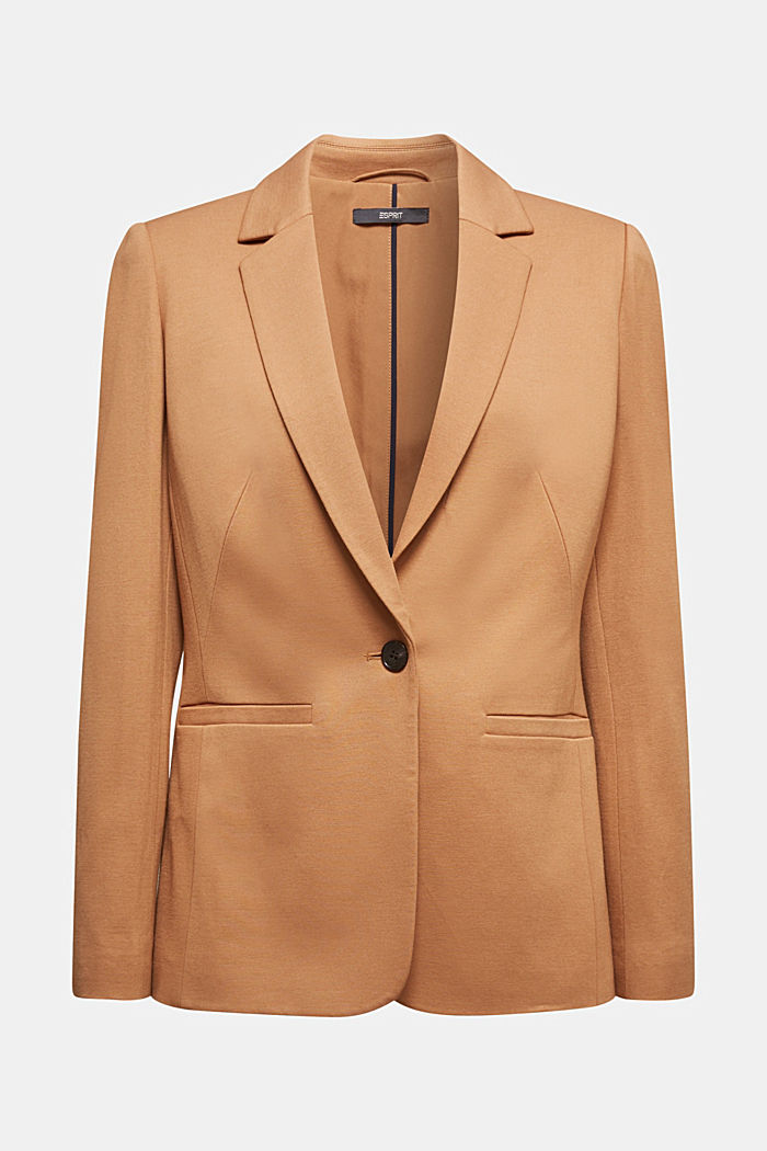 Jersey blazer with stretch for comfort, CAMEL, detail image number 6