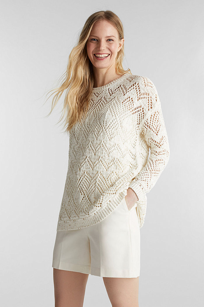 Openwork jumper made of 100% cotton, OFF WHITE, detail image number 0