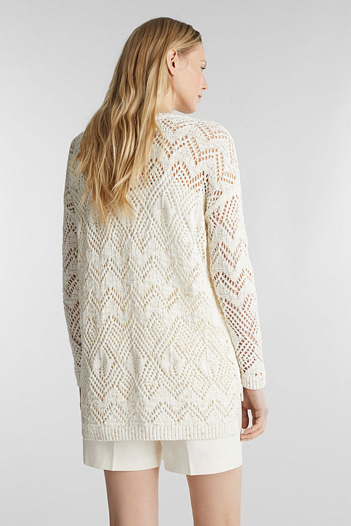 Openwork jumper made of 100% cotton, OFF WHITE, detail image number 3