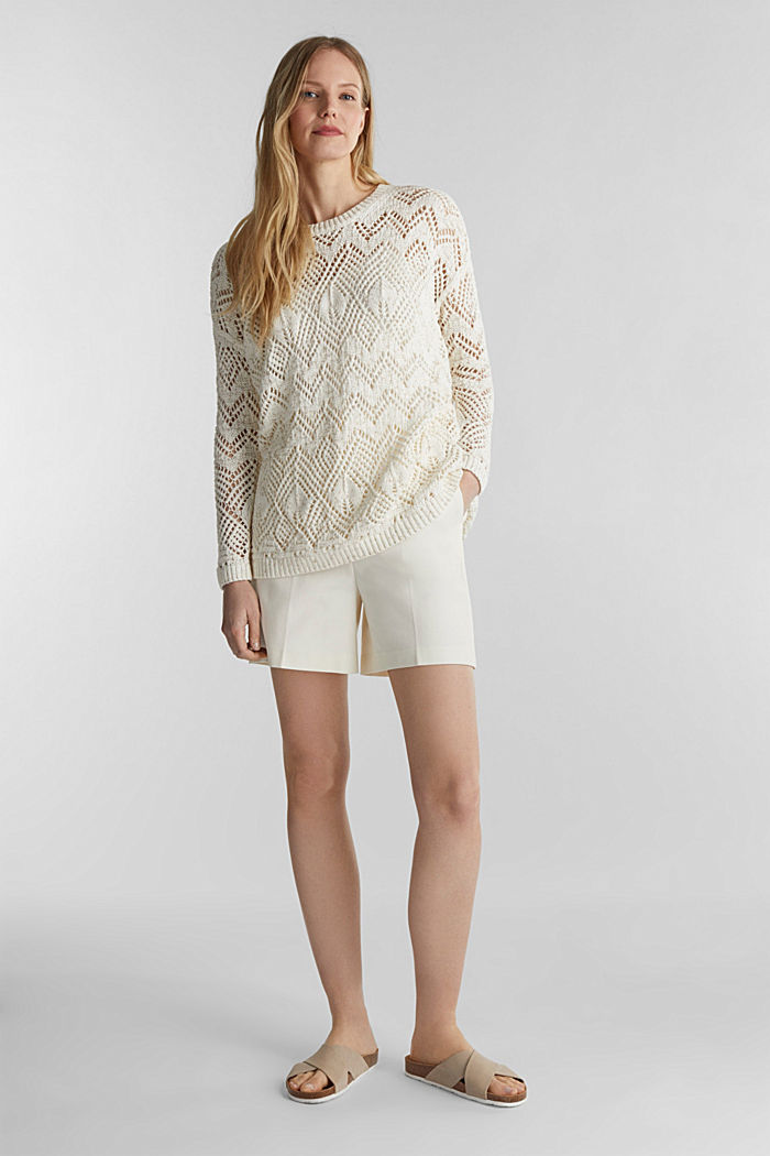 Openwork jumper made of 100% cotton, OFF WHITE, detail image number 1