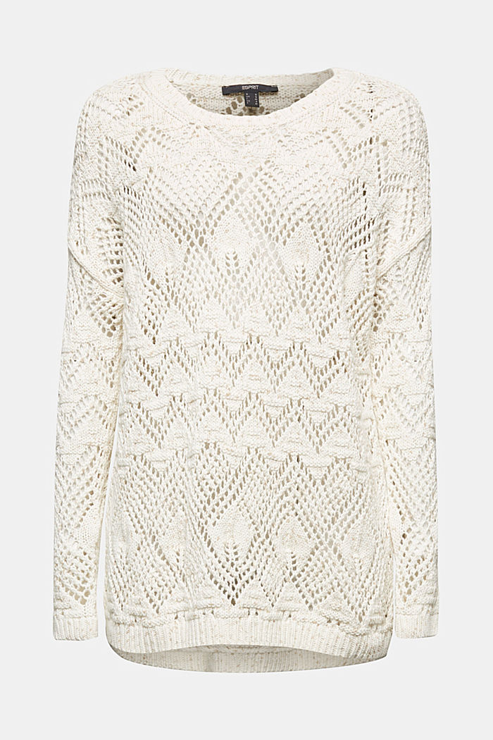 Openwork jumper made of 100% cotton, OFF WHITE, detail image number 6