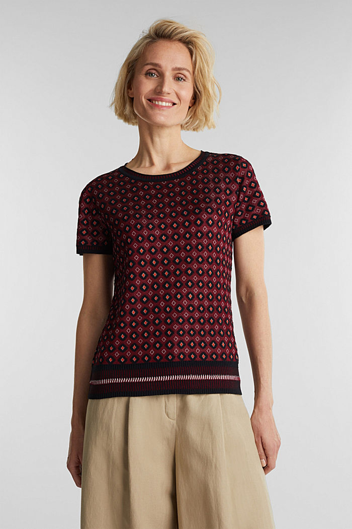 Short-sleeved jumper with a pattern, BORDEAUX RED, detail image number 0