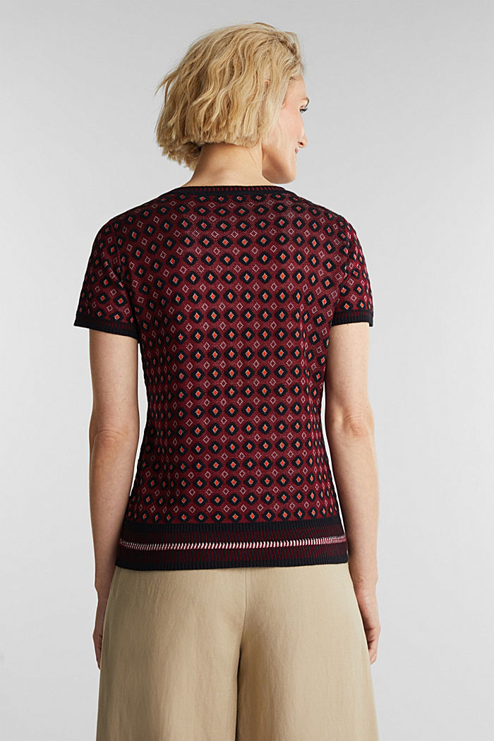 Short-sleeved jumper with a pattern, BORDEAUX RED, detail image number 3