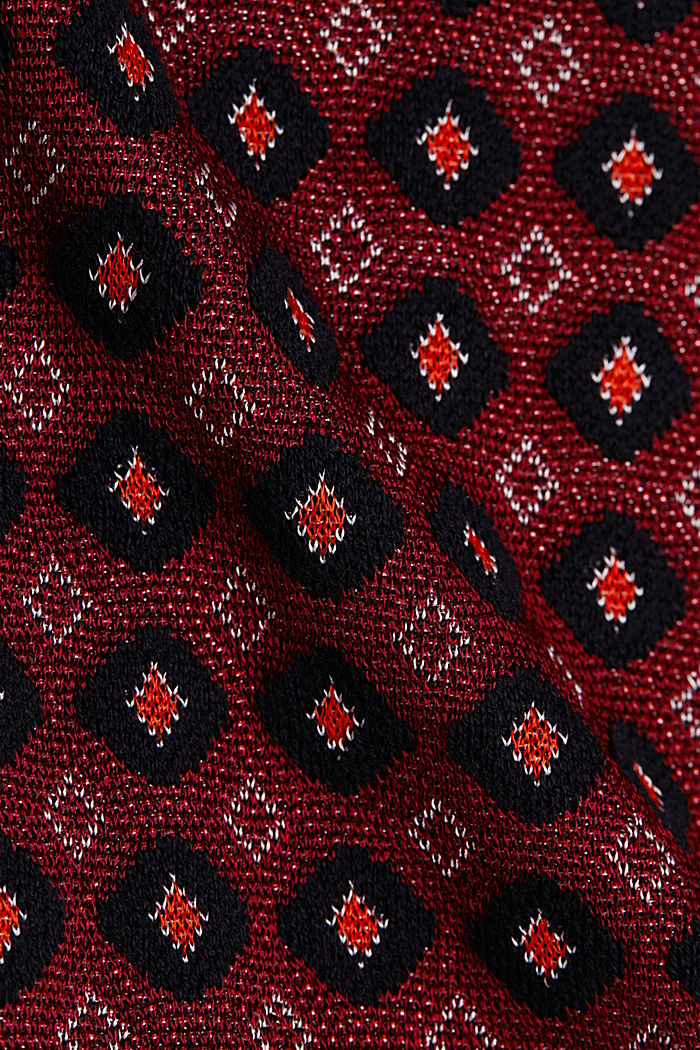 Short-sleeved jumper with a pattern, BORDEAUX RED, detail image number 4