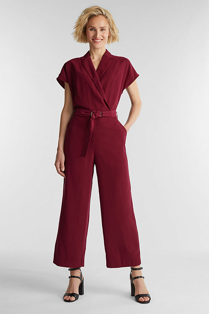 Made of LENZING™ ECOVERO™: Jumpsuit, BORDEAUX RED, detail image number 0