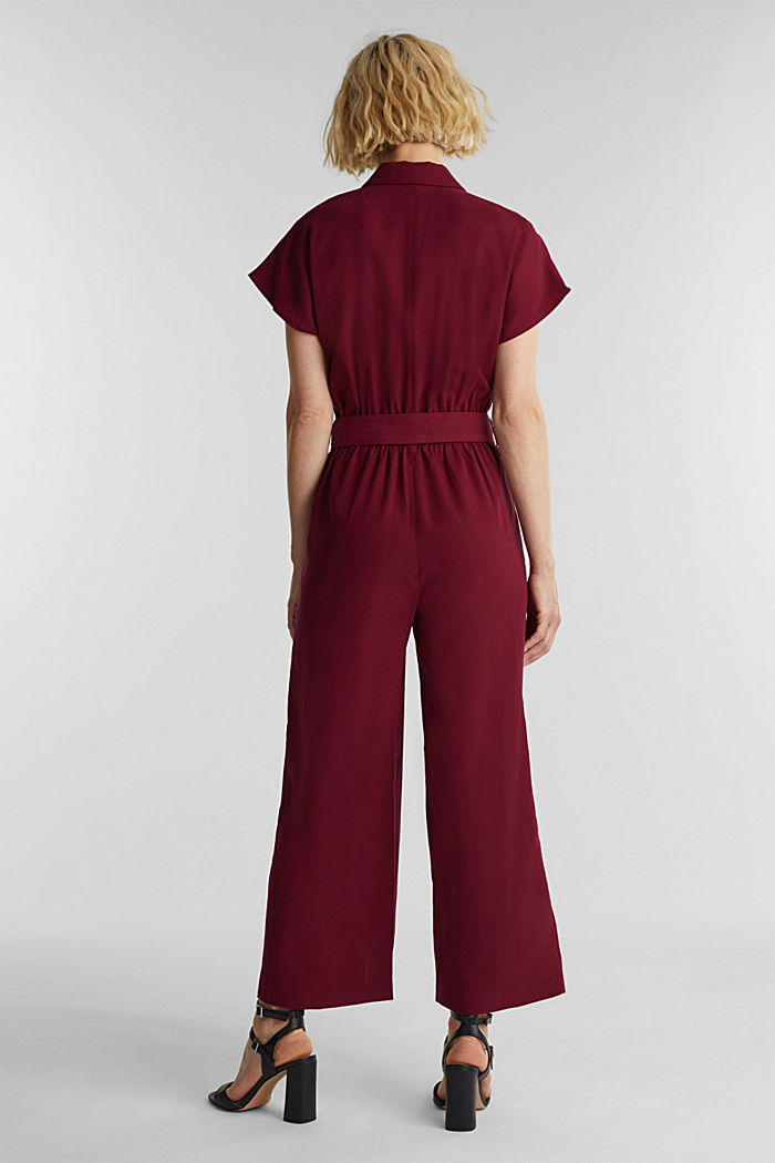 Made of LENZING™ ECOVERO™: Jumpsuit, BORDEAUX RED, detail image number 3