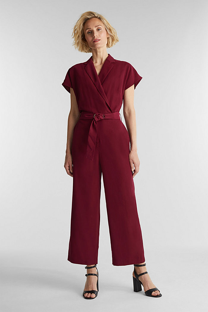 Made of LENZING™ ECOVERO™: Jumpsuit, BORDEAUX RED, detail image number 1