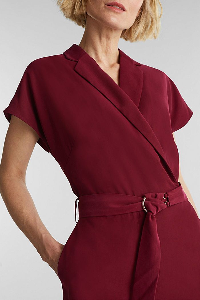 Made of LENZING™ ECOVERO™: Jumpsuit, BORDEAUX RED, detail image number 2