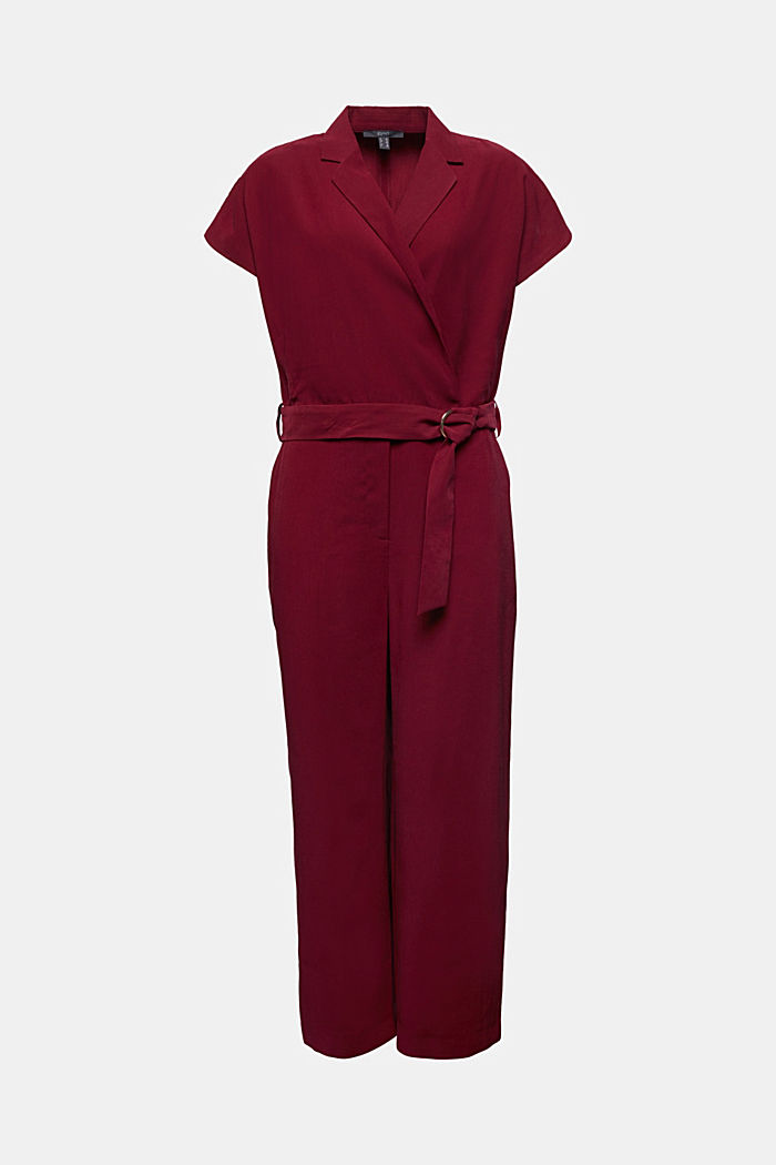 Made of LENZING™ ECOVERO™: Jumpsuit, BORDEAUX RED, detail image number 7