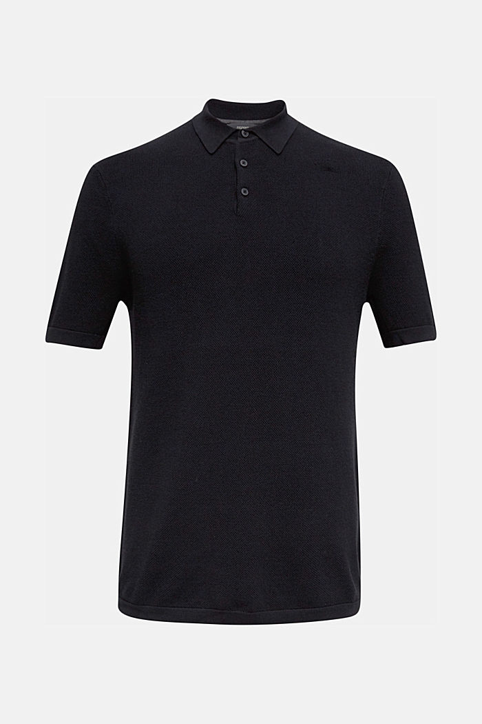 Knitted polo shirt with organic cotton