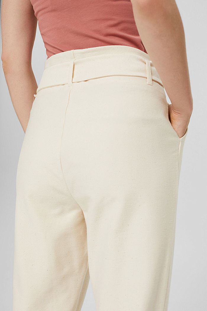 Pantalon de jogging à la coupe tendance, doté d´une ceinture, LIGHT BEIGE, detail image number 5