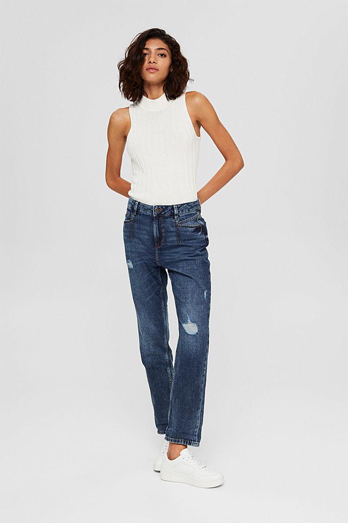 Van biologisch katoen/hennep: used boyfriend jeans, BLUE DARK WASHED, detail image number 6