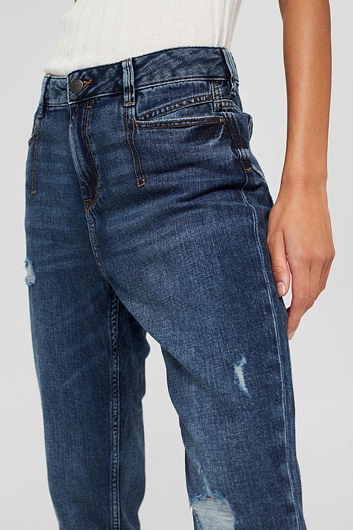 Van biologisch katoen/hennep: used boyfriend jeans, BLUE DARK WASHED, detail image number 2
