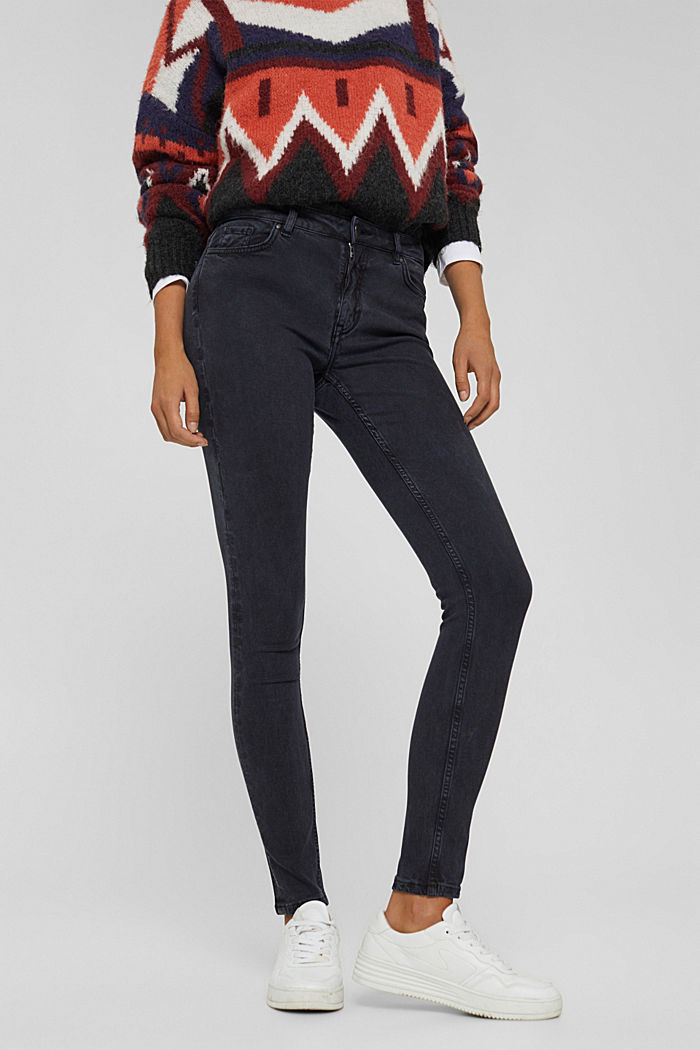 In blended lyocell: super stretchy twill trousers, NAVY, detail image number 0