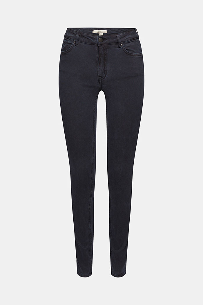 In blended lyocell: super stretchy twill trousers, NAVY, detail image number 7