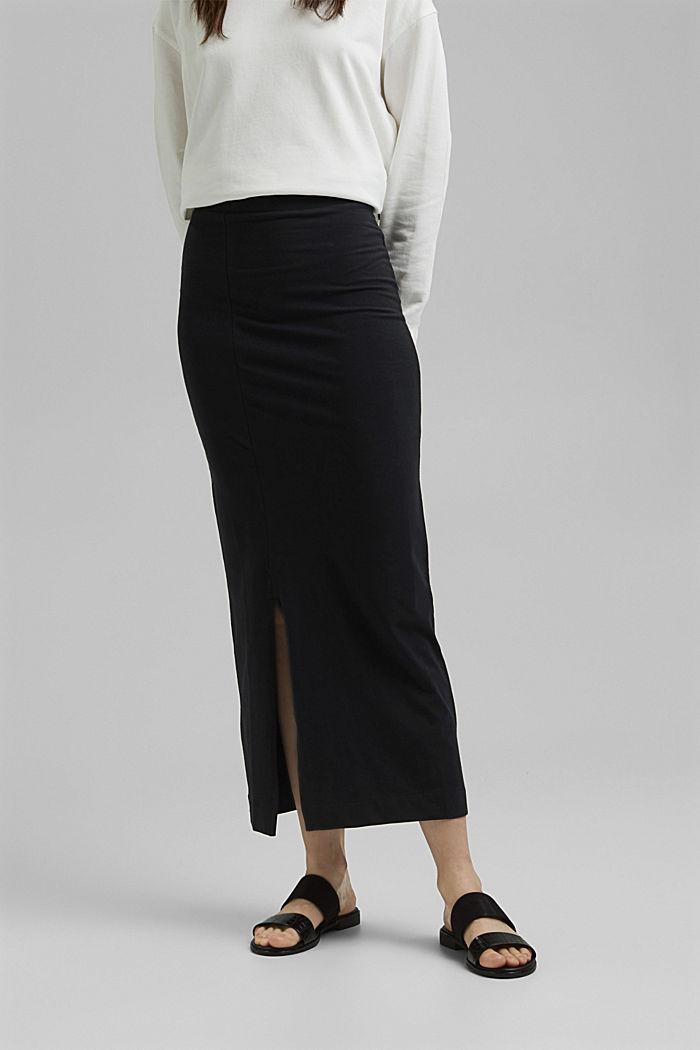 Jersey midi skirt, organic cotton, BLACK, detail image number 0