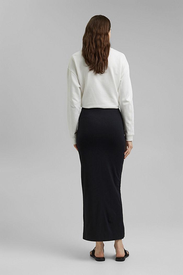 Jersey midi skirt, organic cotton, BLACK, detail image number 3